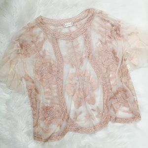 Altar'd State Embroidered Rose Gold Mesh Shirt Top